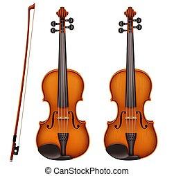 小提琴, 詳細, 現實, 矢量, fiddlestick
