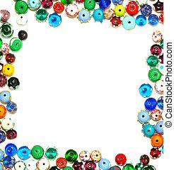 小珠, 框架, 正文, -, 玻璃, 形成, 白色, 邊框