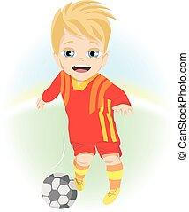 小男孩, 戶外, 打球, 足球, 愉快