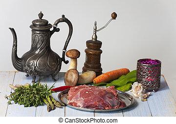 小羊, 未經加工的蔬菜, 肉
