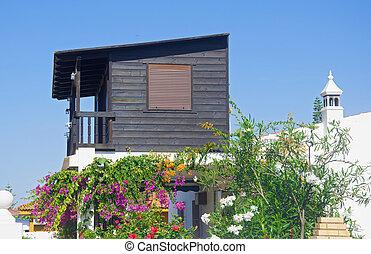 小, 木制, 花, 房子