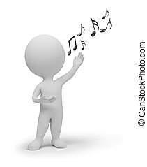 小, 歌手, 3d, -, 人們