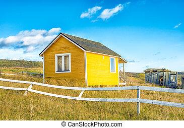 小, 黃色, 被放棄, 農村, 柵欄, 白宮