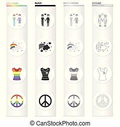 少數, 集合, 性, 單色, 性, 彩虹, 風格, 圖象, 卡通, 黑色, 股票, 少數, 符號, web., 彙整, 插圖, 彩虹, 對, 簽署, 快樂, t恤衫, outline, freedom., 矢量
