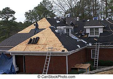 屋頂, 人, 房子