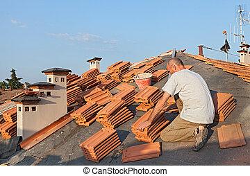 屋頂, 安裝, 瓦片