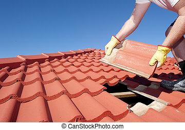 屋頂, 建設, 瓦片, 修理, 工人