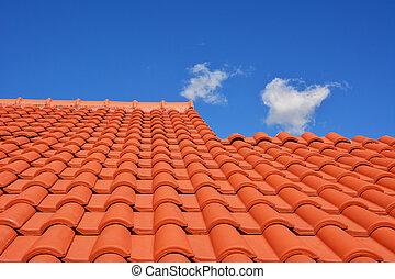 屋頂, 紅色, 瓦片, 結構