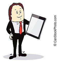 屏幕, tablet-pc, 商人, 指