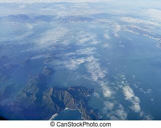 山頂部, 看法, 空中, 島