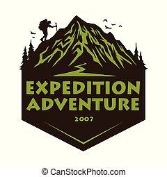 山, 元素, 遠足, badges., 營房, 插圖, 冒險, 矢量, 設計, 森林, 樣板, 標識語, 攀登, 象征