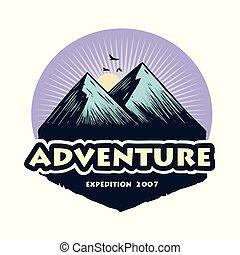 山, 元素, 露營, badges., 營房, 插圖, 冒險, 矢量, 設計, 森林, 樣板, 標識語, 攀登, 象征