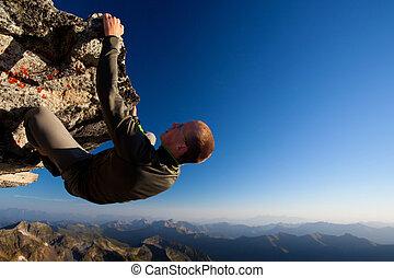 山, 年輕, 高, 範圍, 上面, 攀岩, 人