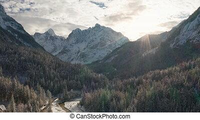山, 森林, 空中, 多雪, 射擊