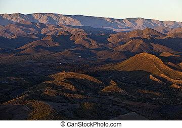 山, 看法, 空中, 傍晚, 沙漠