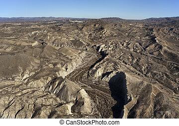 山, 空中, 在上方, andalusia, almeria, 沙漠, 西班牙, 看法