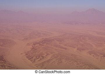 山, 空中, 埃及, 天空, 沙漠, 看法