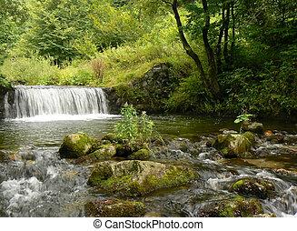 山, waterfall., 河, stream.