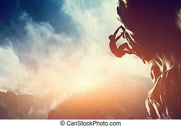 岩石, 山, sunset., 攀登的人, 黑色半面畫像