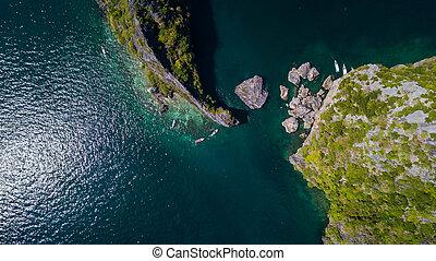 島, 看法, 空中, 風景