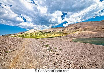 島, metajna, pag, 看法, 風景, 沙漠