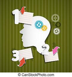 嵌齒輪, 單子, 頭, 摘要, retro, 紙, 箭, infographic, 綠色, 布局
