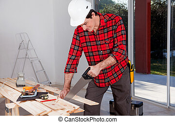 工人, 使用, 建設, 看見, 手