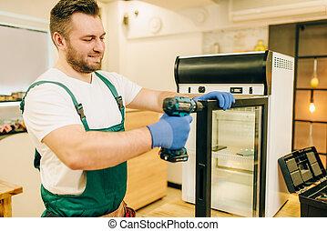 工人, 修理, 門, 螺絲刀, 冰箱