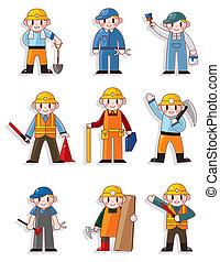 工人, 卡通, 圖象