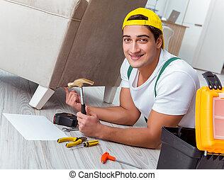 工人, 家, 修理, 家具