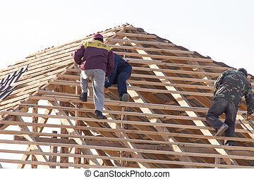 工人, 工作, 屋頂