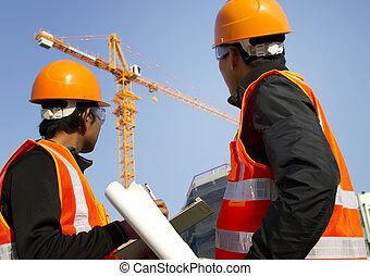 工人, 建築用起重機, 背景