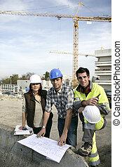 工人, 建設, 一起, 工作, 隊