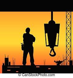 工人, 建造工作, 黑色半面畫像, 地方