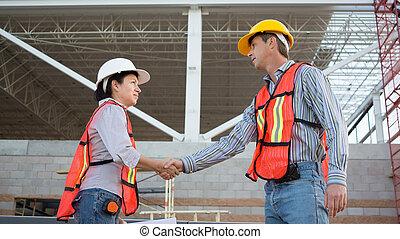 工人, 手, 男性, 女性, 晃動