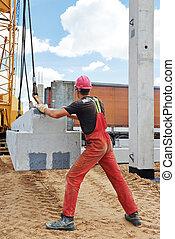 工人, 混凝土, 平板, 安裝