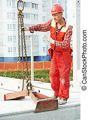 工人, 混凝土, 建造者, 平板, 安裝