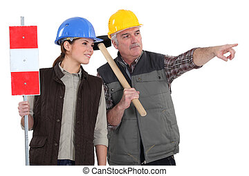 工人, 男性, 女性, 路