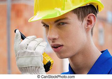 工人, 站點, /, 建設, trainee., helmet., 學徒