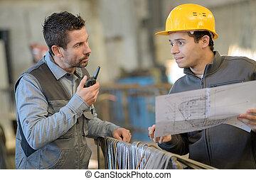 工人, 計劃, 建設, 工程師, 檢查, 站點