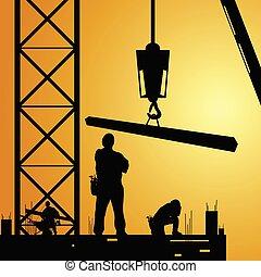 工人, 起重機, 工作, constuction, 插圖