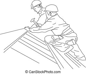 工人, 錘子, 屋頂