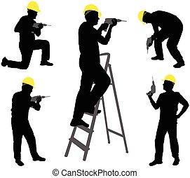 工人, 黑色半面畫像, 操練