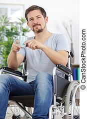 工作, 人, 喝, 無能力, 咖啡, 輪椅