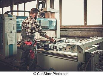 工作, 他的, 木匠, workshop., 木工工作