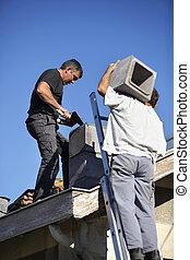 工作, 努力, 二, roofers