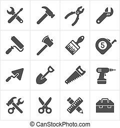 工作, 圖象, 工具, 儀器, 矢量, white.