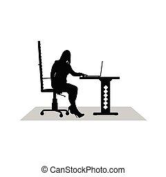 工作, 女孩, 電腦, 矢量