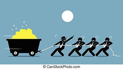 工作, 工作, help., 工人, 努力, 一起, 領導人, 鼓勵, 雇員