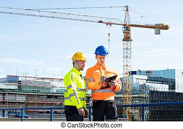 工作, 工程師, 二, 男性, 剪貼板, 建築工地